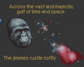 SALE rustle my jimmies cross stitch pattern across the cosmos jimmies rustle softly