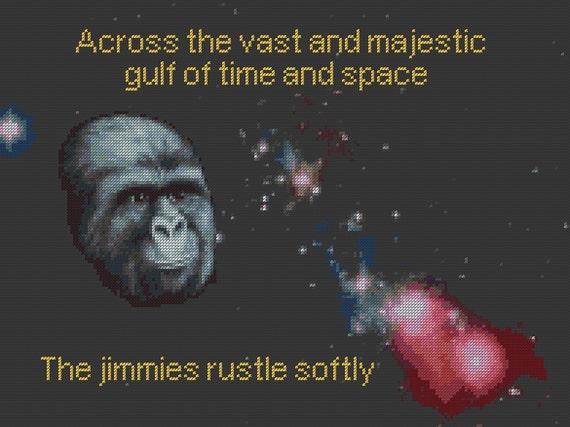 SALE rustle my jimmies cross stitch pattern across the cosmos jimmies rustle softly