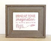 "Pride & Prejudice Quote Linocut 5 x 7 Art Block Print - ""Indulge Your Imagination"""