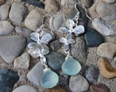 Seafoam Green Faceted Chalcedony Gemstone and Orchid Dangle Earrings, Bridal, Bridemaid Jewelry