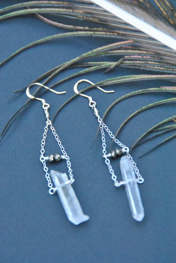 Quartz Crystal Point, Pyrite, Sterling Silver Dangle Earrings
