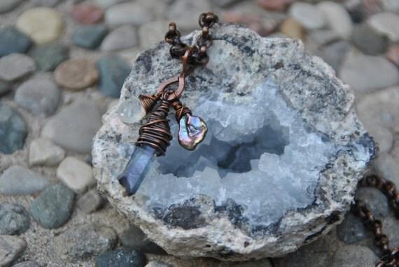 Purple Quartz Crystal Point, Moonstone Briolette, Keshi Pearl, Oxidized Cooper Pendant Necklace