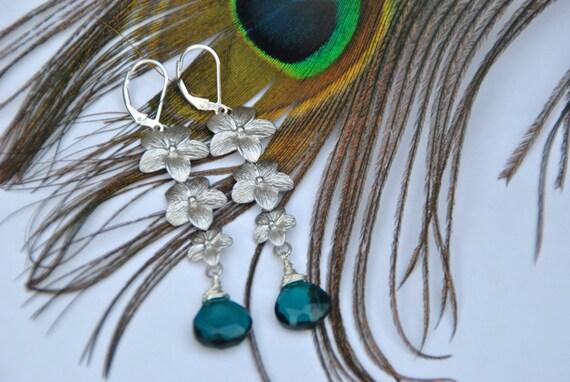 Dark Apatite Blue Quartz Gemstone and Daisy Dangle Earrings