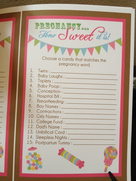 pregnancy how sweet it is baby shower candy game digital file