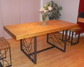 Dining Table with a Reclaimed Pine Butcher Block Top and Hand Forged Artisan Base