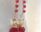 Ruby Red Quartz Moonstone Citrine Pearl Earrings in 14k Gold Fill, Handmade, July Birthstone