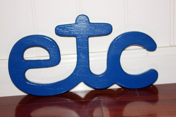 Wood Sign Wall Art ETC (Blue)