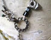 Dodo Bird  Black-- Necklace-Swarovski Crystals Industrial hardware Beads