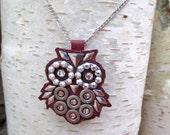 Industrious Owl -- Necklace-Swarovski Crystals Industrial hardware Leather Purple