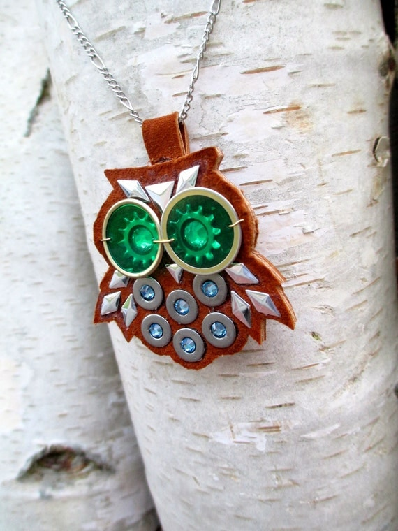 Shady The Industrious Owl -- Necklace-Swarovski Crystals Industrial hardware Leather