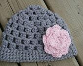 Baby Girl Cluster Hat Crochet - Newborn - Toddler - Child - Adult - Light Grey w/ Light Pink Large Flower - Custom Made to Order