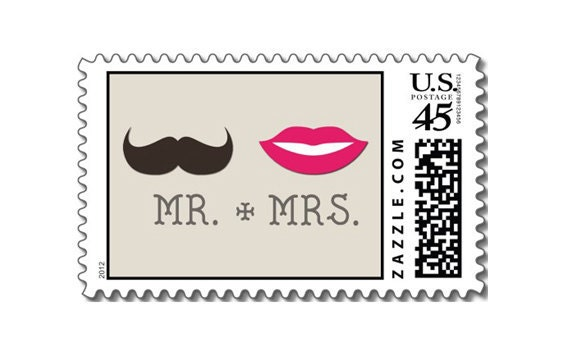 Mr And Mrs Wedding Invitation Wording: Lips And Moustache / Mr & Mrs. / Wedding Invitation Postage