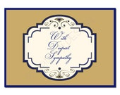Printable Note Card.  Deepest Sympathy.  Gold and Dark Blue.