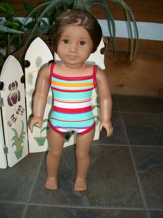 American Girl Doll Clothes--Striped Swimsuit w Red Trim