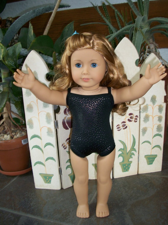 American Girl Doll Clothes--Shiny Black & Silver Leotard