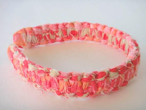 JorJa Band - knotted fabric headband, warm peach, pink, and cream