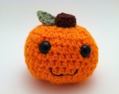 Crochet mini pumpkin amigurumi orange with leaf and stem