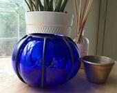 1960's Caged Cobalt Blown Glass Vase