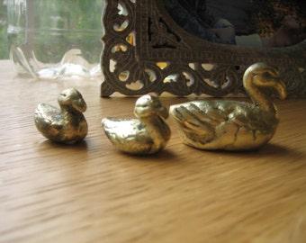 Vintage Solid Brass Raft of Ducks