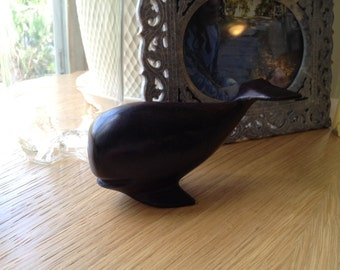Vintage Hand Carved Wood Whale