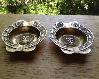 Vintage Pair of Brass Owl Ashtrays