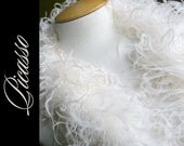 """Curly Ostrich Feather Marabou Boa IVORY for DIY Curly Ostrich Feathers Puffs Clips Weddiing - 12"""" (1Ft) feather strip"""