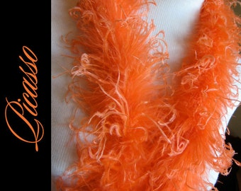 """Curly Ostrich Feathers - DIY Make your own Curly Ostrich Puffs Clips -  12"""" (1Ft) feather strip - ORANGE"""