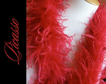 """DIY Curly Ostrich Puffs Clips -  Curly Ostrich Feathers - 12"""" (1Ft) feather strip - RED"""