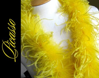 1ft (12inch) bright YELLOW Curly Ostrich feathers marabou for curly ostrich puffs, hair clips, beanies, kufis, angel wings,