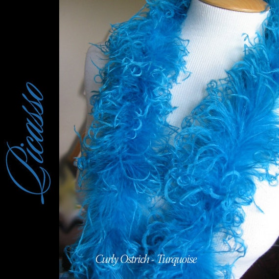 "Curly Ostrich Feathers - DIY Make your own Curly Ostrich Puffs Clips -  12"" (1Ft) feather strip - TURQUOISE"