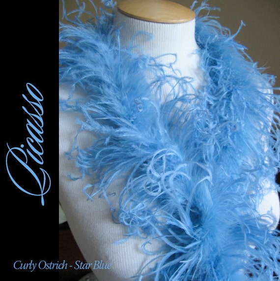 1ft (12inch) star BLUE Curly Ostrich feathers marabou for curly ostrich puffs, hair clips, beanies, kufis, angel wings,