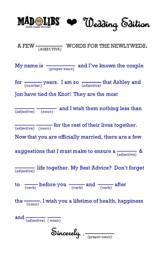 items similar to wedding mad libs word template for a