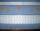 Blue Powder Room Towel Hand Embroidered with Little Roses and Butterflies