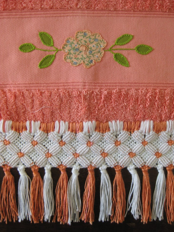 Pink Powder Room Towel with Flower Appliqué and Macramé Fringes - Handmade
