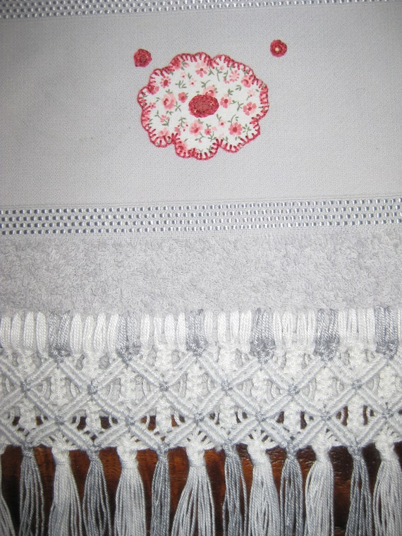 Gray Powder Room Towel with Flower Appliqué and Macramé Fringes - Handmade