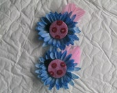Ladybug Hairclips, Blue Flower Hairbow, Feather Hairclips