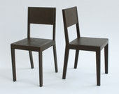 set of two modern chairs for dolls momoko blythe - dark brown - model 1