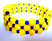Neon Bracelet Beaded Yellow Blue - Memory Wire