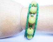 Green Bracelet Beaded - Memory Wire