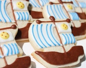 Pirate Ship Cookies - One Dozen Hand Decorated Sugar Cookies