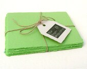 Apple green handmade paper, recycled, 10 small sheets