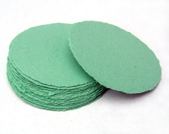 Mint green paper circles, handmade paper, recycled, deckle edge, set of 10