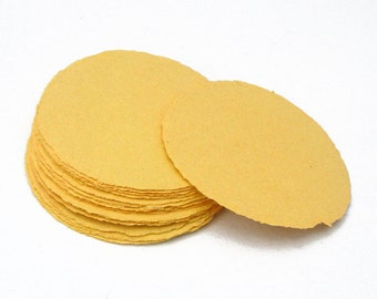 Yellow paper circles, handmade recycled paper, deckle edge, set of 10