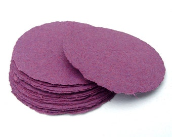 Purple paper circles, handmade paper, recycled, deckle edge, set of 10