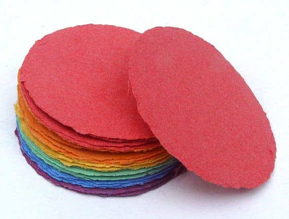 Multicolored paper circles, handmade paper, recycled, deckle edge, set of 30