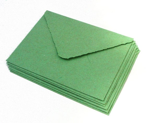 Forest green envelopes, handmade paper, recycled, deckle edge, A2 size, set of 10