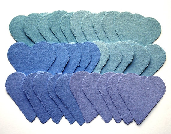 Handmade paper hearts, shades of blue and aqua, recycled, deckle edge, set of 30