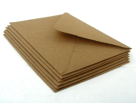 Brown envelopes, handmade recycled kraft paper, A2 size, set of 10