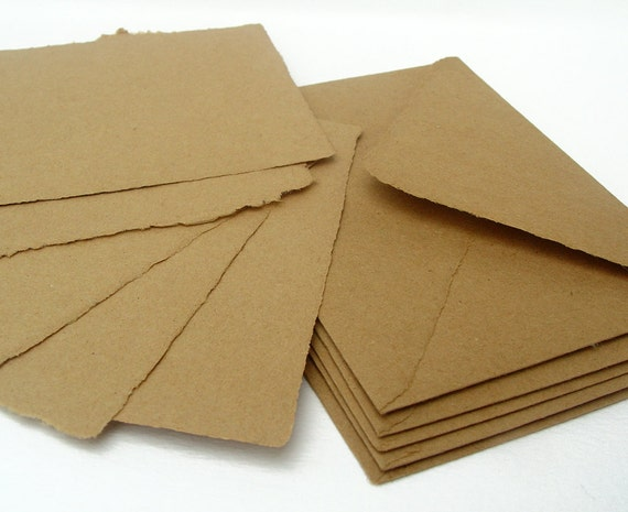 Brown papers and envelopes, handmade recycled kraft paper, A2 size, set of 5