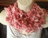 scarf, scarflette, lariat, knitted jewellery, crochet, pink, two tone yarn, designer, special occasion, wedding